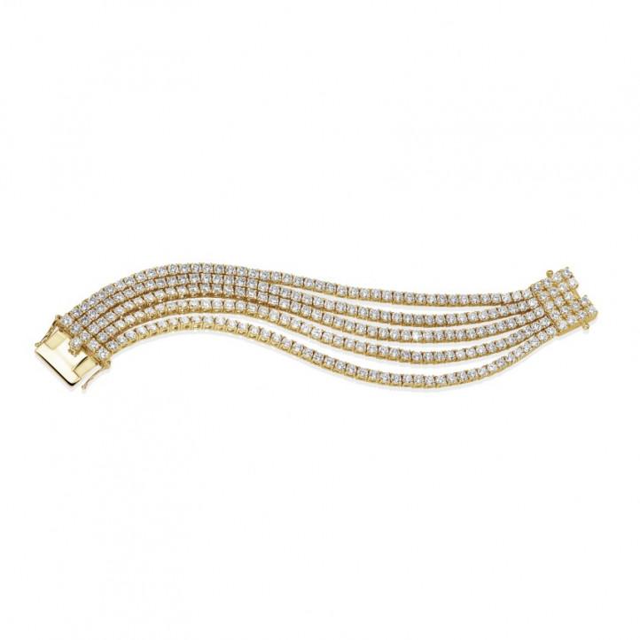 25.90カラットの幅の広いイエローゴールドダイヤモンドテニスブレスレット