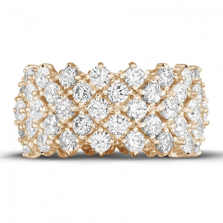 編み込みピンクゴールドダイヤモンドリング