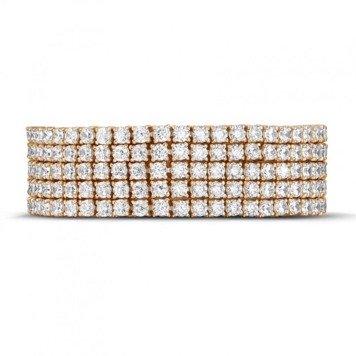 25.90カラットの幅の広いピンクゴールドダイヤモンドテニスブレスレット