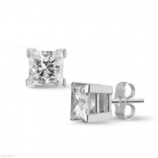 高級なジュエリー - 2.00 カラットの例外的な品質のプリンセスダイヤモンド付きホワイトゴールドイヤリング (D-IF-EX)