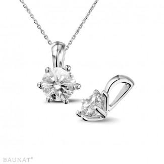 高級なジュエリー - 1.00 カラットの例外的な品質のラウンドダイヤモンド付きホワイトゴールドペンダント (D-IF-EX)