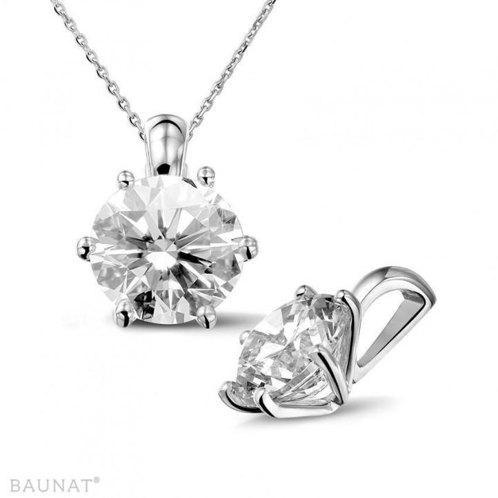 3.00 カラットの例外的な品質のラウンドダイヤモンド付きホワイトゴールドペンダント (D-IF-EX)