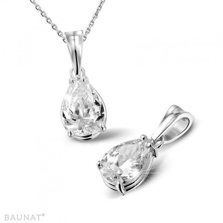 2.00 カラットの例外的な品質のペアーダイヤモンド付きホワイトゴールドペンダント (D-IF-EX)