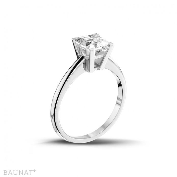 2.00 カラットの例外的な品質のプリンセスダイヤモンド付きホワイトゴールドリング (D-IF-EX)