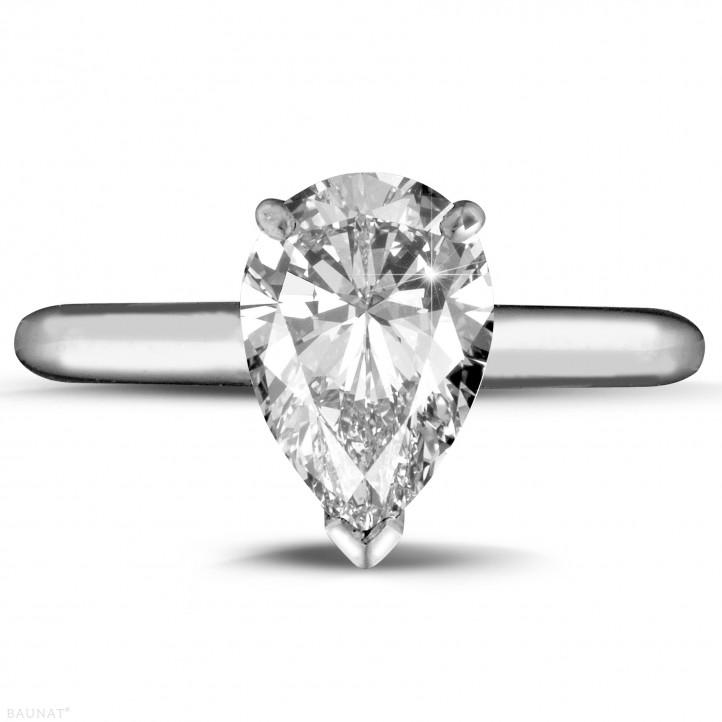 2.00 カラットの例外的な品質のペアーダイヤモンド付きホワイトゴールドリング (D-IF-EX)