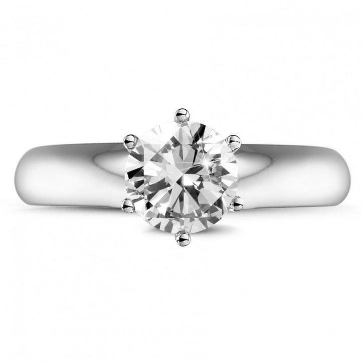 1.00 カラットの例外的な品質のダイヤモンドや6のプロング付きホワイトゴールドリング (D-IF-EX)