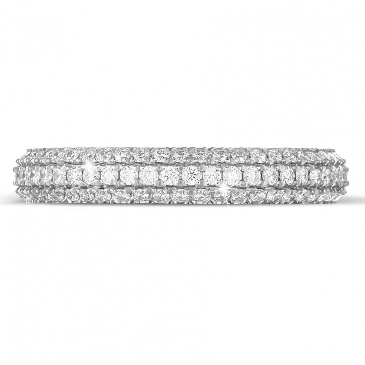 0.85 カラットのホワイトゴールドダイヤモンドエタニティリング(フルセット)