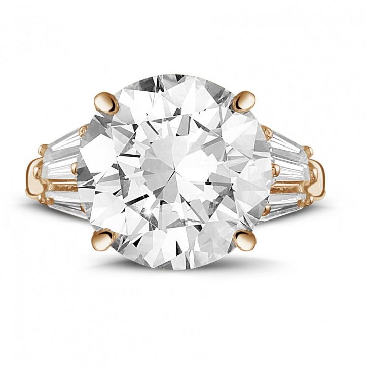 ラウンドとテーパーダイヤモンド付きピンクゴールドリング