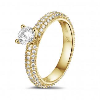 エンゲージリング - 0.50 カラットのサイドダイヤモンド付きイエローゴールドソリテールリング(フルセット)