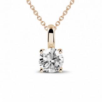 ネックレス - 0.50カラットのラウンドダイヤモンドと4つのプロング付きピンクゴールドペンダント