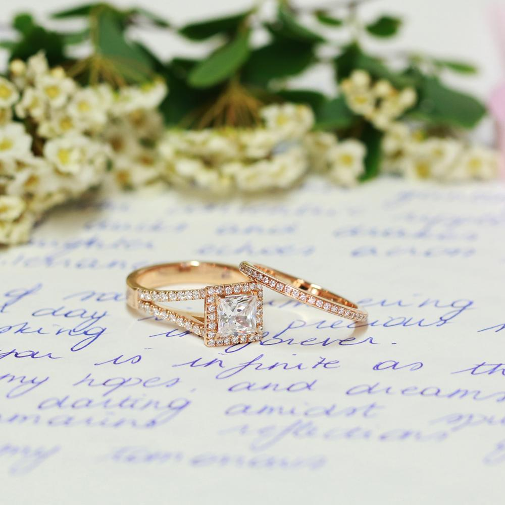 An elegant diamond bridal set, with a stunning princess diamond in yellow gold, by BAUNAT.