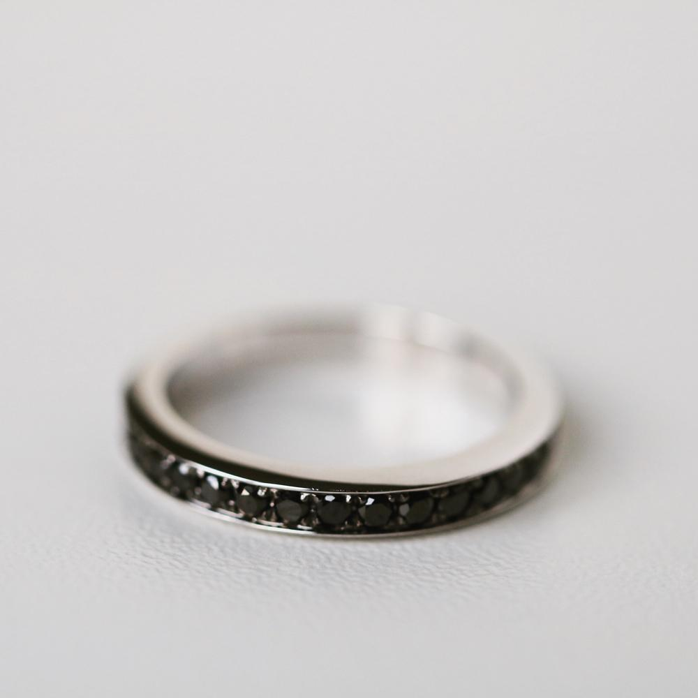 White gold rings for men set with black diamonds are perfect for gentlemen, by BAUNAT