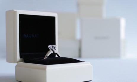 Diamond solitaire engagement ring bu BAUNAT in high-quality packaging