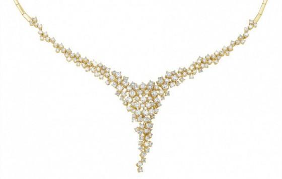 Diamond golden necklace