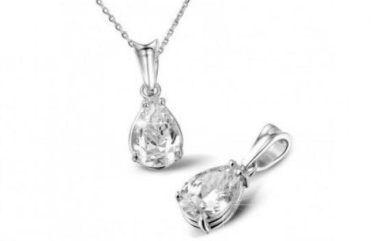 A pendant with a pear-shaped diamond