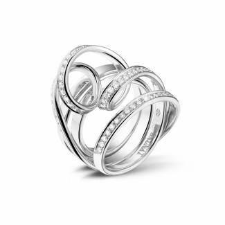 Platina Diamanten Ringen - 0.77 karaat diamanten design ring in platina