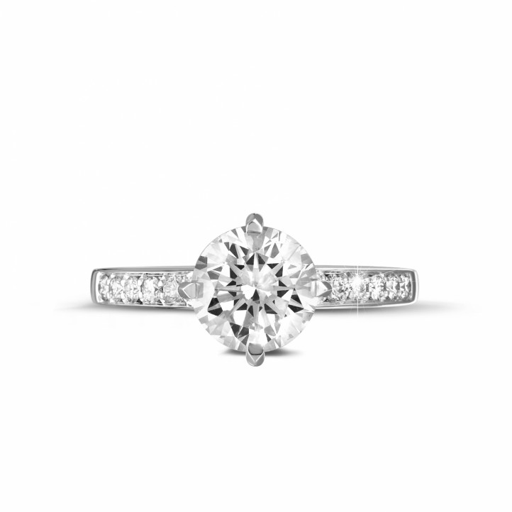 1.50 caraat diamanten solitaire ring in wit goud met zijdiamanten