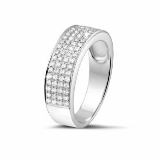 Witgouden diamanten trouwringen en alliances - 0.64 karaat brede diamanten alliance in wit goud
