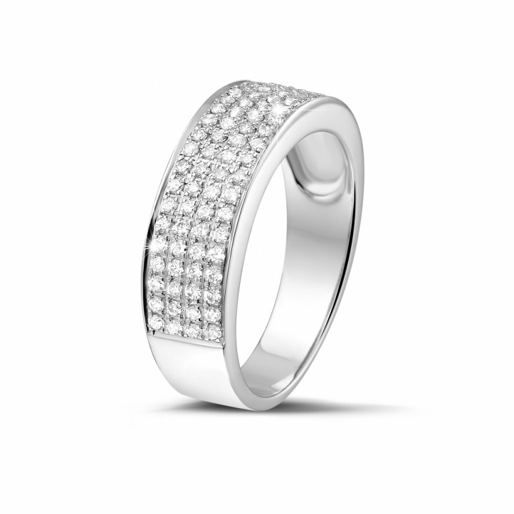 0.64 caraat brede diamanten alliance in wit goud