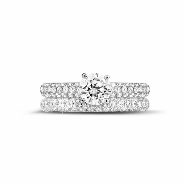 Set witgouden diamanten trouwring en verlovingsring met 1.00 karaat centrale diamant en kleine diamanten