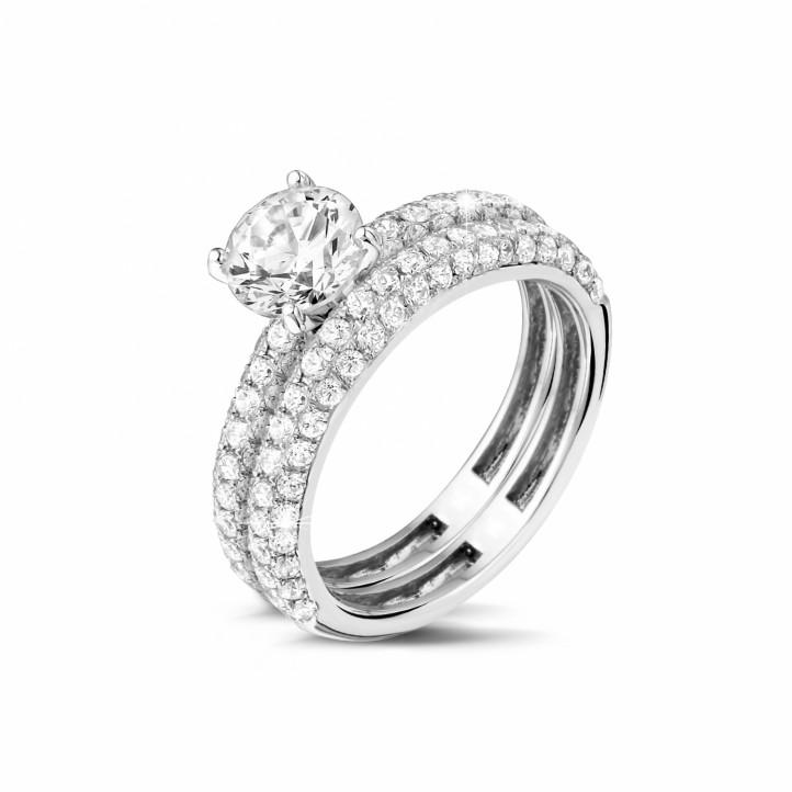 Set witgouden diamanten trouwring en verlovingsring met 1.20 caraat centrale diamant en kleine diamanten