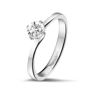 - 0.50 karaat diamanten solitaire ring in wit goud