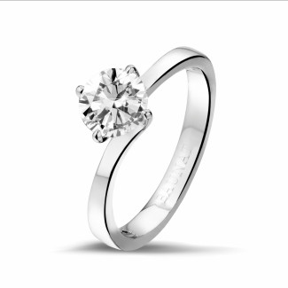 - 0.90 karaat diamanten solitaire ring in platina
