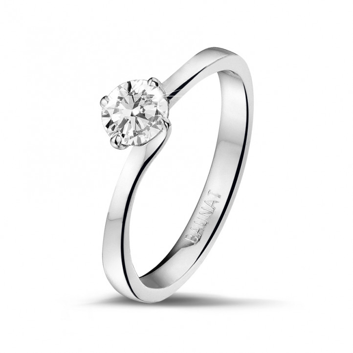 0.50 karaat diamanten solitaire ring in platina