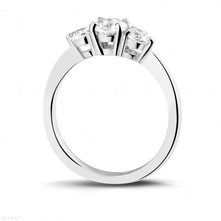 1.00 caraat trilogie ring in platina met ronde diamanten