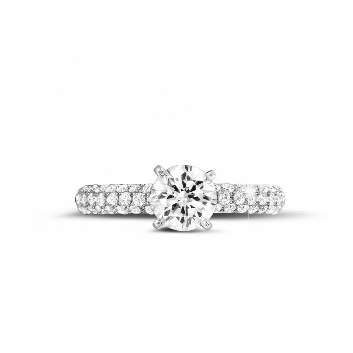 1.20 caraat solitaire ring (half gezet) in platina met zijdiamanten