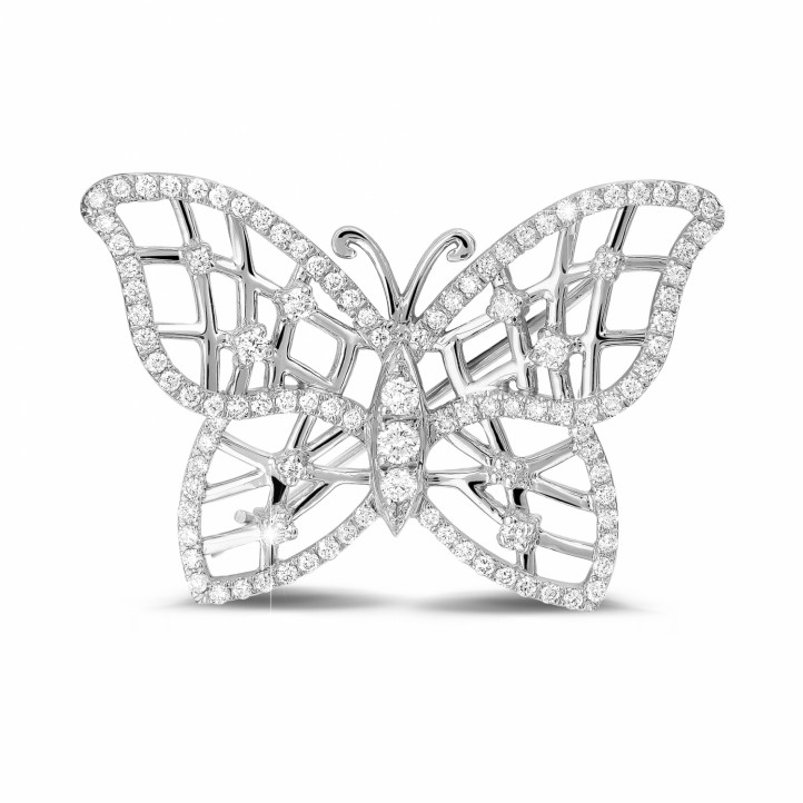 0.90 karaat diamanten design vlinder broche in platina