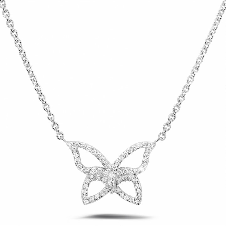 0.30 caraat diamanten design vlinder ketting in wit goud