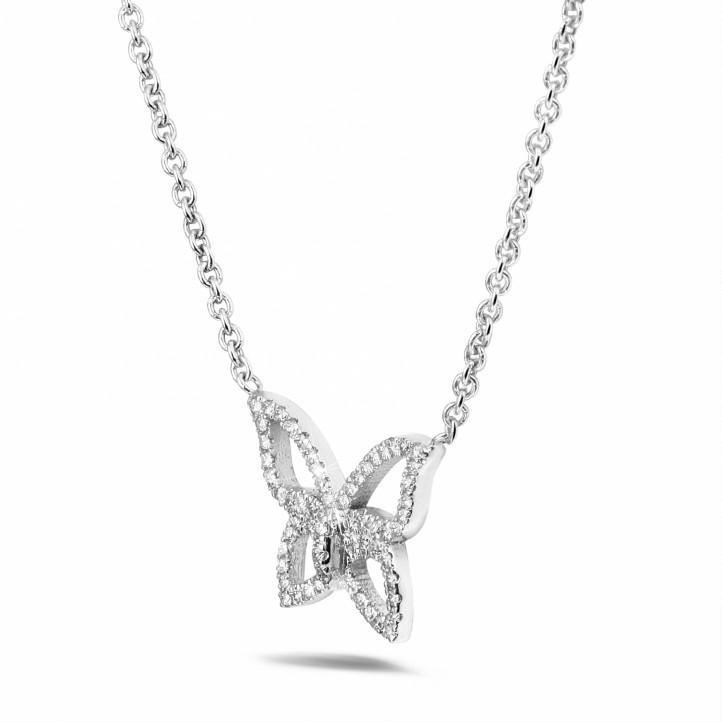 0.30 karaat diamanten design vlinder ketting in wit goud