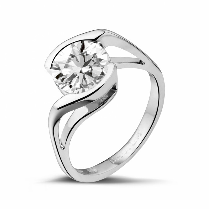 2.00 karaat diamanten solitaire ring in wit goud