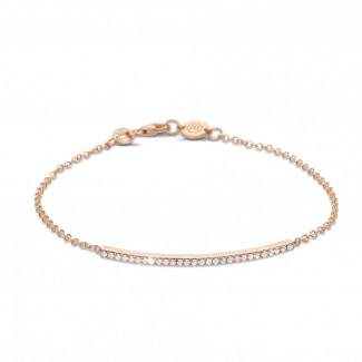 0.25 caraat fijne diamanten armband in rood goud
