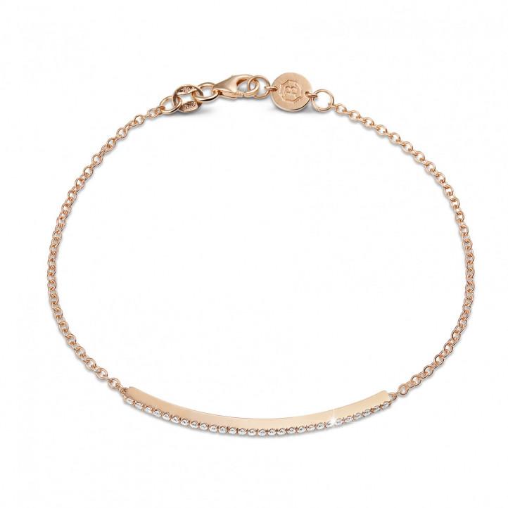 0.25 karaat fijne diamanten armband in rood goud