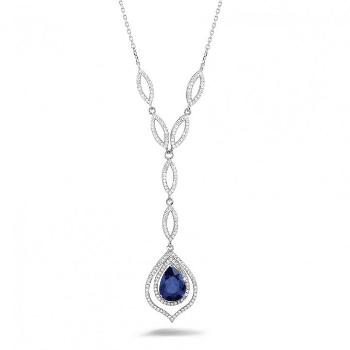 Diamanten halsketting met peervormige saffier van ongeveer 4.00 karaat in platina