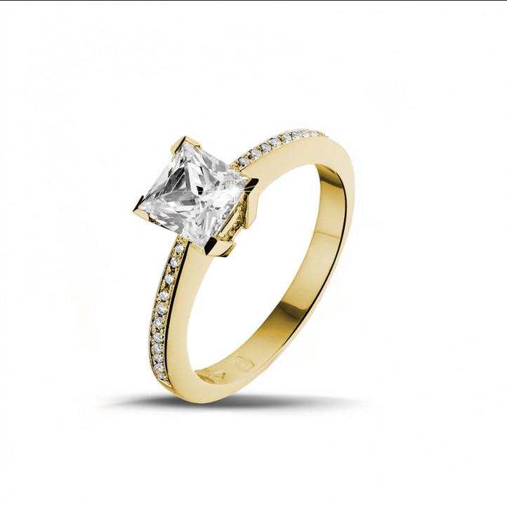 1.25 caraat solitaire ring in geel goud met princess diamant en zijdiamanten