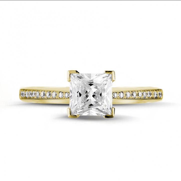 1.50 karaat solitaire ring in geel goud met princess diamant en zijdiamanten