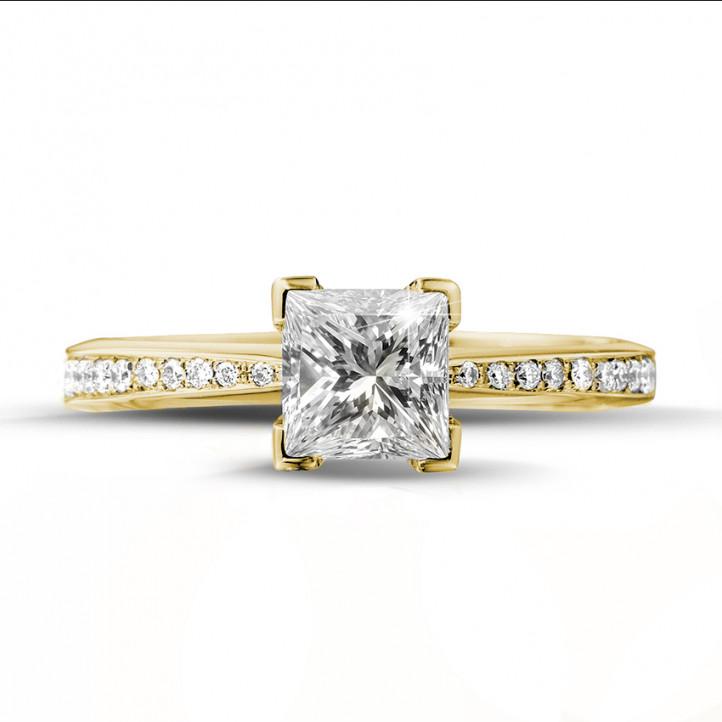 1.00 karaat solitaire ring in geel goud met princess diamant en zijdiamanten