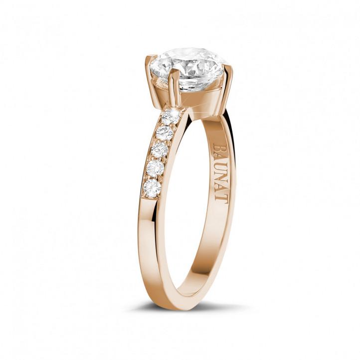 1.20 karaat diamanten solitaire ring in rood goud met zijdiamanten