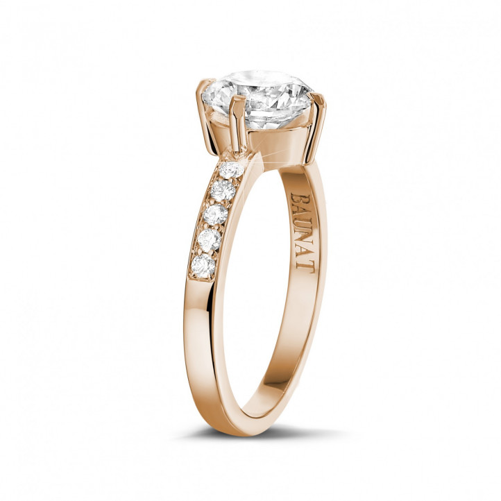 1.50 caraat diamanten solitaire ring in rood goud met zijdiamanten