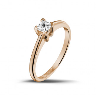 0.30 caraat solitaire ring in rood goud met princess diamant