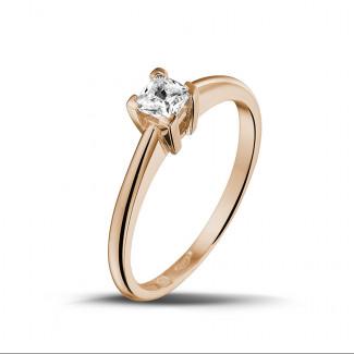 - 0.30 karaat solitaire ring in rood goud met princess diamant