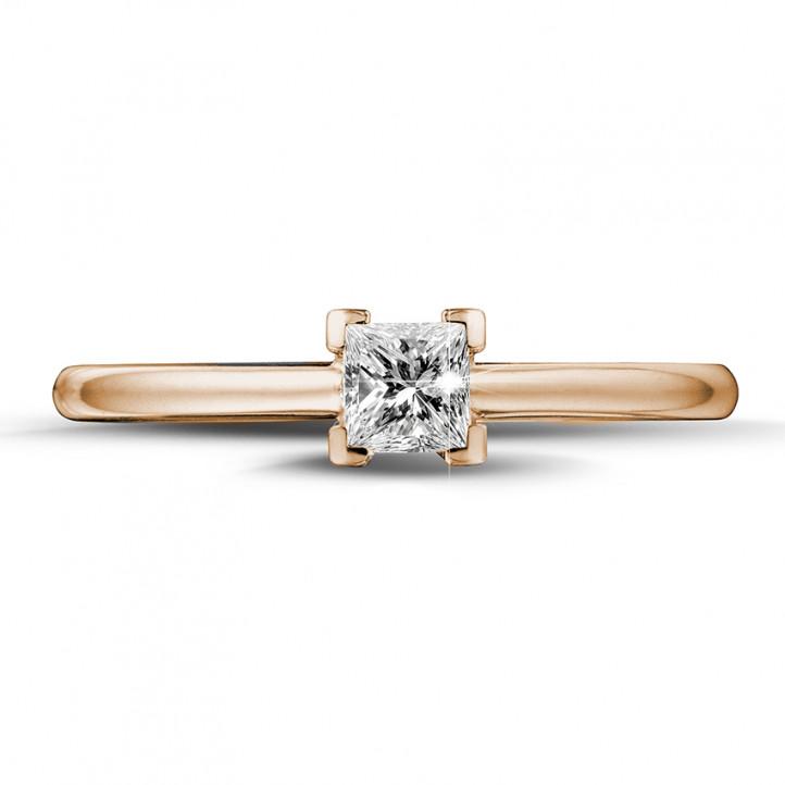 0.30 karaat solitaire ring in rood goud met princess diamant
