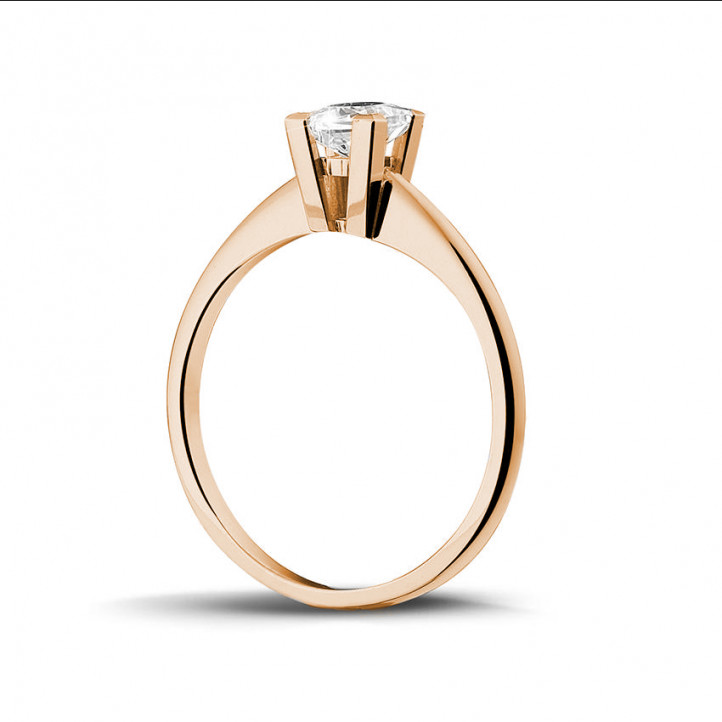 0.50 karaat solitaire ring in rood goud met princess diamant