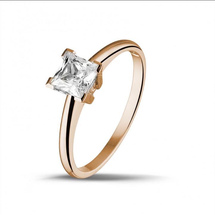 1.00 karaat solitaire ring in rood goud met princess diamant