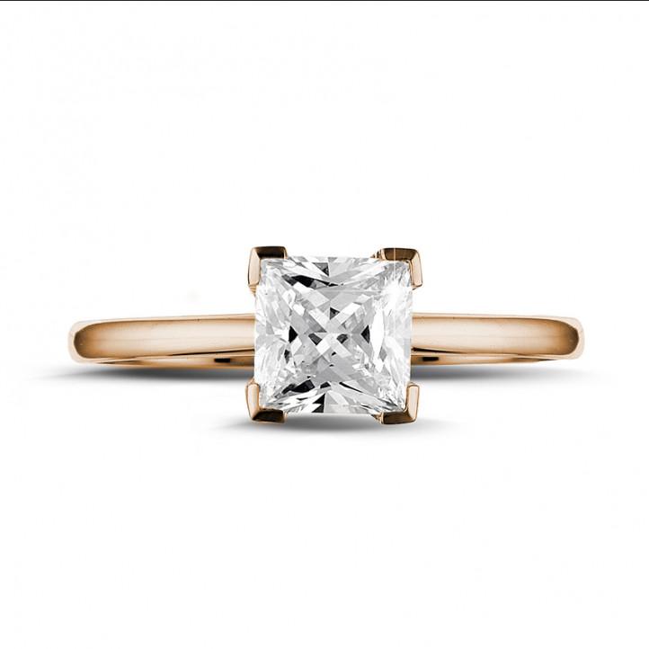 1.25 caraat solitaire ring in rood goud met princess diamant