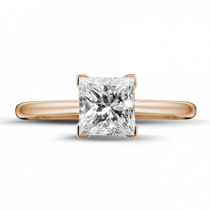 1.50 caraat solitaire ring in rood goud met princess diamant