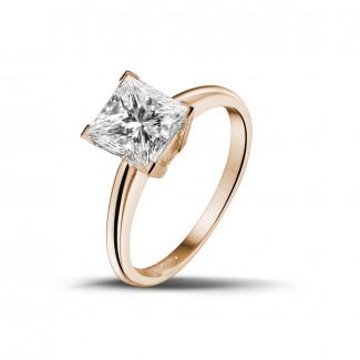 - 2.00 karaat solitaire ring in rood goud met princess diamant